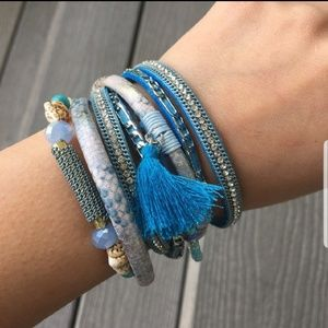 Blue Crystal Bracelet Wrap with Magnetic Clasp